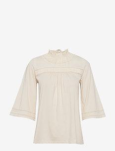 Lace-Trim Cotton-Blend Top - MASCARPONE CREAM