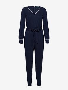 Belted Long-Sleeve Jumpsuit - jumpsuits - lauren navy