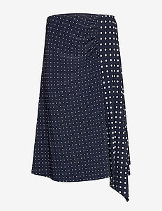 Polka-Dot Stretch Jersey Skirt - midi kjolar - lauren navy/pale