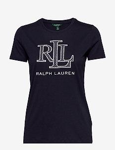 Cotton-Blend Logo T-Shirt - logo t-shirts - lauren navy