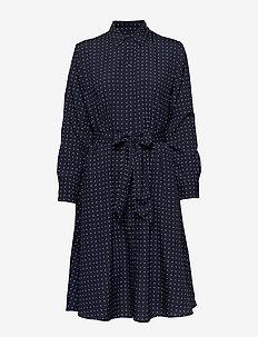 Print Long-Sleeve Shirtdress - LAUREN NAVY/SILK
