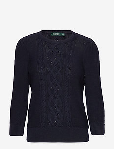 Puff-Sleeve Cable Sweater - gensere - lauren navy