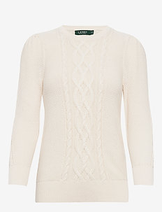 Puff-Sleeve Cable Sweater - tröjor - mascarpone cream