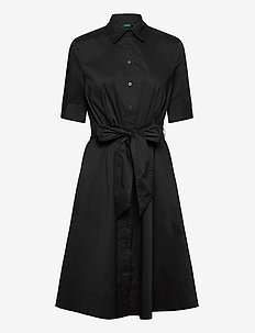 Belted Cotton-Blend Shirtdress - shirt dresses - black