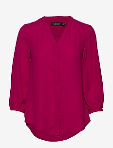 Pleated Georgette Top - blouses à manches longues - bright fuschia