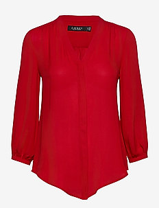 Pleated Georgette Top - blouses à manches longues - lipstick red