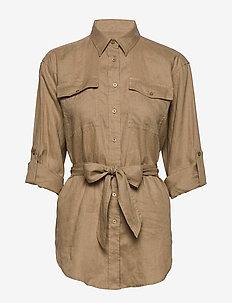 Belted Linen Shirt - långärmade skjortor - spring khaki