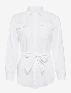 Belted Linen Shirt - chemises à manches longues - white