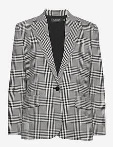 Plaid Cotton-Wool Blazer - blazers - black/silk white