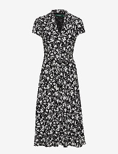 Floral Georgette Midi Dress - midimekot - polo black/silk w