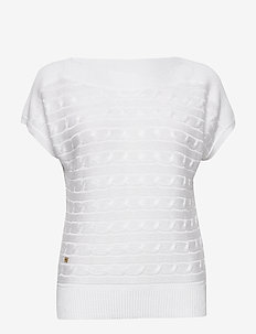 Cable-Knit Boatneck Sweater - strikkede topper & t-skjorter - white