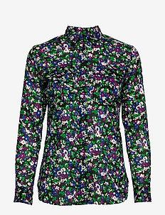 Floral-Print Cotton Shirt - långärmade skjortor - polo black multi