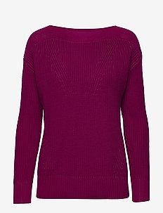 Cotton Boatneck Sweater - truien - bright fuchsia