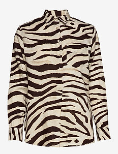 Print Linen Shirt - långärmade skjortor - dk brown multi