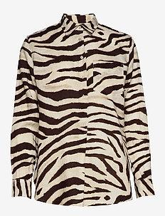 Print Linen Shirt - DK BROWN MULTI