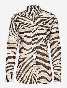 Print Cotton Shirt - långärmade skjortor - dk brown multi