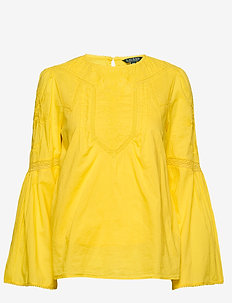 Embroidered Bell-Sleeve Top - DANDELION FIELDS