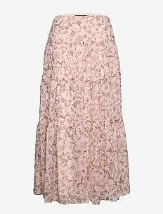 Floral Tiered Peasant Skirt - midi - pink multi