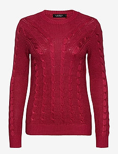 Cable-Knit Crewneck Sweater - gensere - bright clay