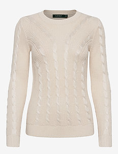Cable-Knit Crewneck Sweater - gensere - mascarpone cream