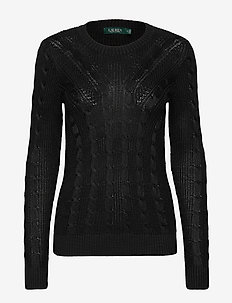 Cable-Knit Crewneck Sweater - gensere - polo black