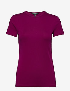 Monogram Cotton-Blend Tee - BRIGHT FUCHSIA