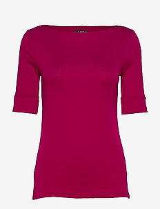 Cotton-Blend Boatneck Top - basic t-shirts - bright fuchsia