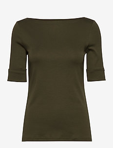 Cotton-Blend Boatneck Top - DARK SAGE