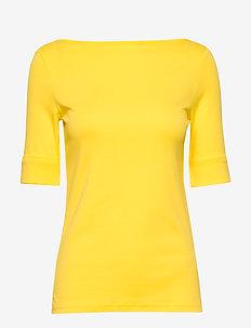 Cotton-Blend Boatneck Top - t-shirts - hampton yellow