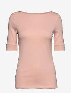 Cotton-Blend Boatneck Top - PINK HYDRANGEA