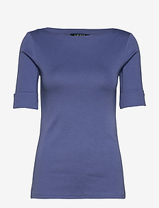 Cotton-Blend Boatneck Top - STORMY SKY