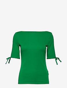 Cotton-Blend Boatneck Top - HEDGE GREEN