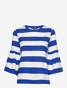 Bell Sleeve Cotton Top - randiga t-shirts - blue glacier/masc