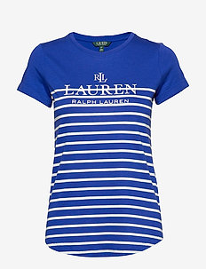 Striped Logo Tee - logo t-shirts - blue glacier