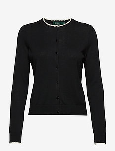Scalloped Cotton Cardigan - cardigans - polo black/mascar