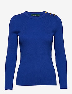 Ribbed Cotton-Blend Sweater - tröjor - blue glacier