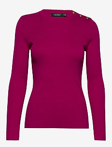 Ribbed Cotton-Blend Sweater - tröjor - bright fuchsia