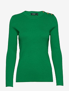 Ribbed Cotton-Blend Sweater - tröjor - hedge green