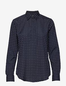 Polka-Dot Crepe Shirt - långärmade skjortor - lauren navy/silk