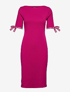 Cotton Boatneck Dress - midimekot - bright fuchsia