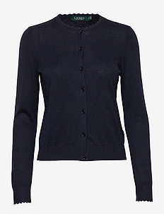 Scalloped Cotton Cardigan - cardigans - lauren navy