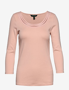 Cotton Elbow-Sleeve Top - PINK HYDRANGEA