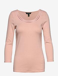 Cotton Elbow-Sleeve Top - basic t-shirts - pink hydrangea
