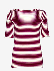 Striped Cotton-Blend Top - BRIGHT FUCHSIA/MA