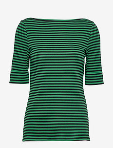 Striped Cotton-Blend Top - randiga t-shirts - polo black/hedge