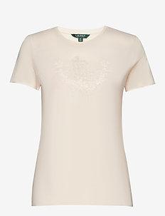 Beaded Jersey Tee - logo t-shirts - mascarpone cream