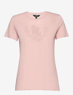 Beaded Jersey Tee - logo t-shirts - pink hydrangea