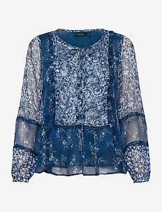 Floral Georgette Peplum Top - langermede bluser - blue multi