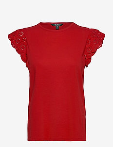Cotton Ruffle-Sleeve Tee - t-shirts - orient red