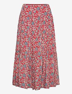 Floral Tiered Peasant Skirt - lange skjørt - red multi